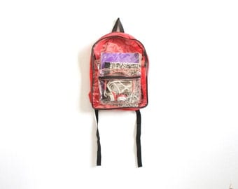 90s CLEAR see through BACKPACK color block adventure school KNAPSACK book bag nylon