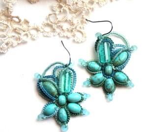 Turquoise Blue Green Beaded Flower Style Dangle Fiber Tatting Earrings