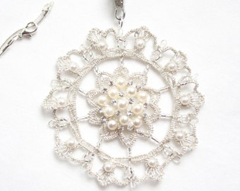 Medallion Snowflake Tatting Lace Pendant Silver Pearl Metallic
