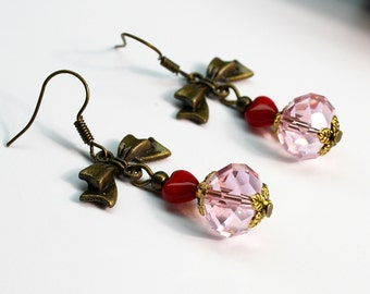 Pink Crystal and Red Hearts with Bows  Dangle Earrings Bronze Tone Jewelry