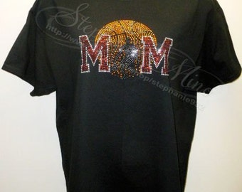 Basketball Mom (w/ male player) Rhinestone T-shirt  (3 styles to choose from)