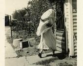 "Vintage Photo ""The Farmhouse Ghost"" Snapshot Photo Antique Photo Old Black & White Photograph Found Photo Paper Ephemera Vernacular - 133"