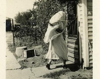 "Vintage Photo ""The Farmhouse Ghost"" Snapshot Photo Antique Photo Old Black & White Photography Found Photo Paper Ephemera Vernacular - 133"
