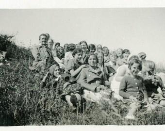"Vintage Photo ""School Field Trip"" Class Kids Girl Snapshot Photo Old Antique Photo Black & White Photograph Found Photo Paper Ephemera - 165"