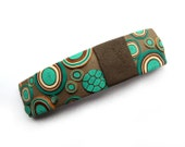 Turquoise Hair Barrette French clip, Polymer clay Deco blue chocolate turquoise, polymer clay cane, handmade Made in France hair pin