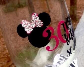 Minnie Mouse wine glass, Disney Birthday