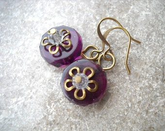 Purple glass earrings with brass flower details: Bloom - drop earrings, handmade earrings, plum purple, round earrings, purple jewelry