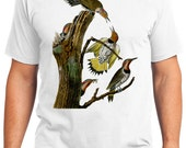 Golden-winged Woodpecker Bird Retro Men & Ladies T-shirt - Gift for Bird Lovers and Ornithologist (idc037)