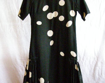vintage dress, black with random white polka-dots