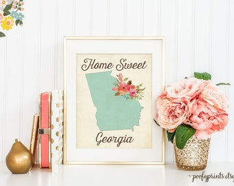 Home Sweet Georgia - Rustic Aqua Watercolor Flowers Georgia Home is Where the Heart Is - Home Sweet Home Decor - INSTANT DOWNLOAD - 302