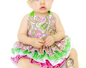 Ruffle Fitted Top - Hot Pink Lime Green Paisley for Baby Toddlers Girls