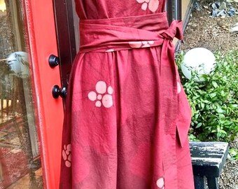 Custom Apron Dress, sample is red hibiscus cotton with electric royal blue piping