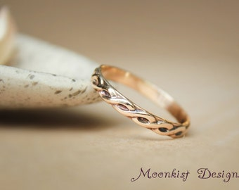 Celtic Endless Knot Wedding Band in Yellow Gold - Narrow Celtic Pattern Band - 14 K Yellow Gold Braided Ring - Bridal Promise Band