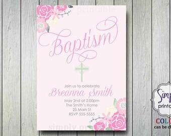Pink Floral Baptism Invite