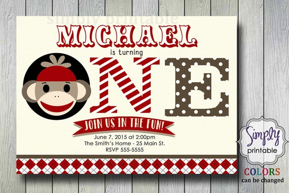 Sock Monkey Birthday Invite, 1st Birthday Invitation