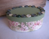 Embellished Paper Mache Gift Box Storage Box Birthday Mothers Day GIft Box Green and Pink Roses SnowNoseCrafts