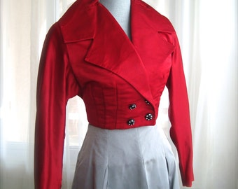 1960's Red Silk Evening Jacket With Rhinestone Buttons, Size Medium
