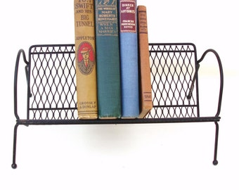 Vintage Metal Book Rack Desk Top Storage Organizer Punched