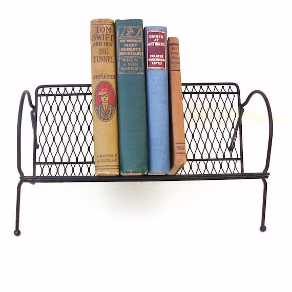 Vintage Metal Book Rack Desk Top Storage Organizer By