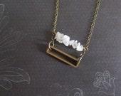Cathode - Geometric Brass & White Moonstone Semi Precious Stone Rectangle Necklace