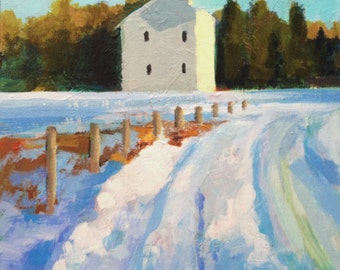 Painting , Landscape, Snowy Road- small original painting on panel.