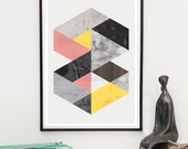 Geometric print, Abstract art, watercolor print, nordic design, Scandinavian design, Marble, minimalist art, home decor, wall print,