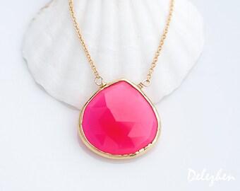 Fuchsia Necklace - Hot Pink Necklace - Gemstone necklace - Gold Necklace - Pink Chalcedony Necklace - Layered Necklace - Layering Necklace