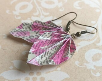 Origami Leaf Earrings // Texted Pink Chevron