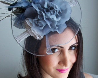 "Blue Gray Fascinator Hat - ""Grace"" Hat Fascinator Headband with Feathers and Quills"
