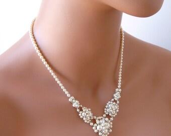 Bridal Necklace, Pearl Bridal Necklace, V Necklace, Bridal Jewelry, Wedding Necklace, Backdrop Necklace, Wedding Jewelry, WHITE or IVORY