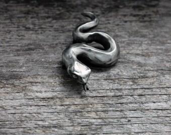 Little Snake Brooch in silver pewter