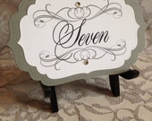 Table Number Cards Bracket Scallop Layered - Wedding Quince Bat Mitzvah - Elegant Classic Traditional Shaped Layered Calligraphy
