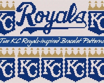 Two Kansas City Royals-inspired 2-drop Peyote Stitch Cuff Bracelet Beading Patterns
