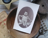 Antique french card photography little baby with a silver rattle 1920s