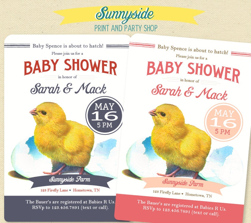 farm baby shower invitation baby chick by sunnysideprintparty