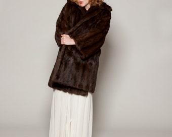 Vintage 1950s Fur Stroller Coat - Brown Squirrel Jacket - Winter Bridal Fashions