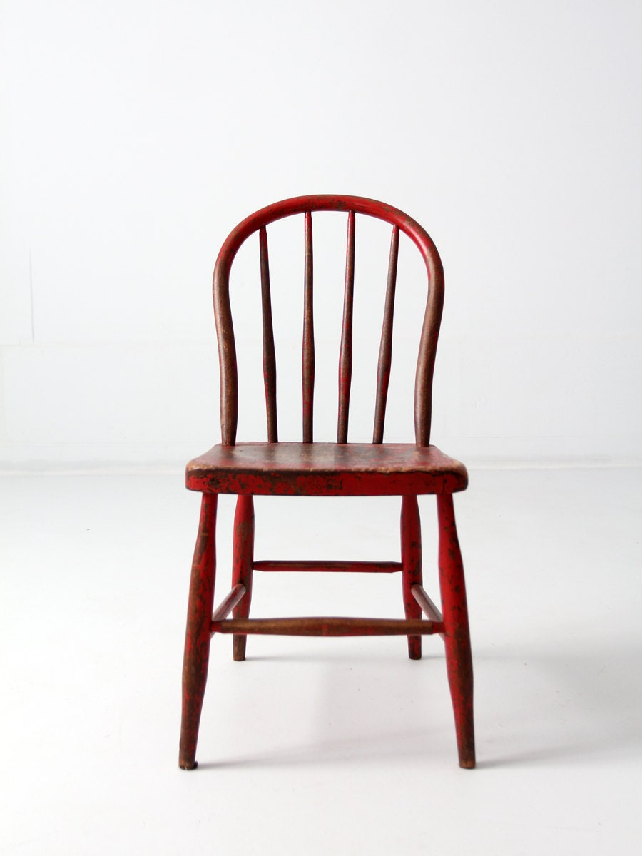 antique children's chair spindle back wood chair