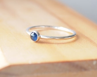 Sapphire Birthstone Ring - Stacking Rings Silver Genuine Sapphire - September Birthstone Jewellery - 4mm Natural Sapphire Cabochon Ring