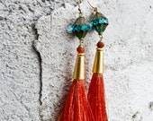 Silk Tassel Earrings, Silk Tassel Jewelry, Boho Earrings,  Art Nouveau, Minimalist Earrings, Persimmon and Blue