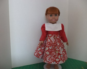Christmas Print Dress, Red Christmas Print Skirt, Red Bodice,  fits 18 inch dolls, Ready to Ship