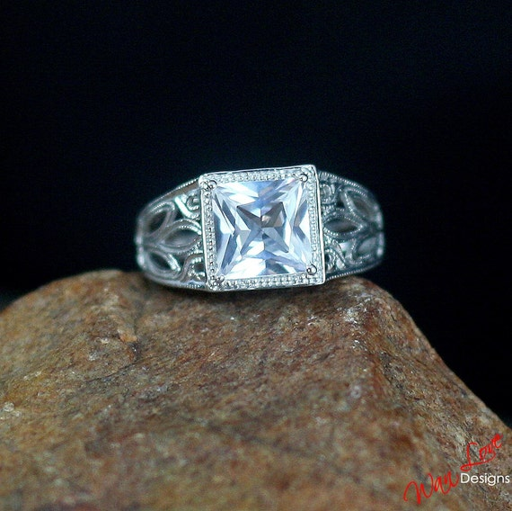 white sapphire solitaire engagement ring by wanlovedesigns