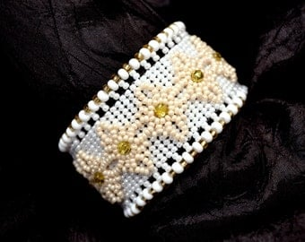 White Embelished Herringbone Beadwoven Cuff Bracelet