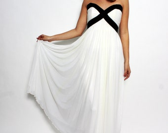 1990s couture Vicky Tiel evening gown dress ballgown white black xs s 0 2 4 6
