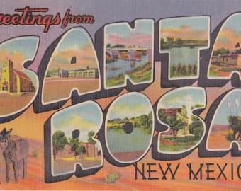Greetings From Santa Rosa, New Mexico- 1950s Vintage Postcard- Large Letter- Classic Souvenir- Southwest Landmarks- Paper Ephemera- Used