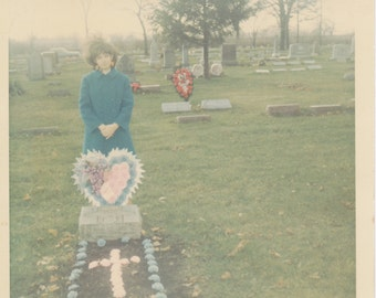 Graveyard Memorial Flowers- SET of 4- 1970s Vintage Photographs- Color Snapshots- Old Photos- Cemetery Pictures- Headstone- Grave Marker