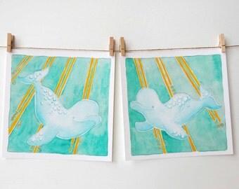 Beluga Nursery - Whale - Arctic Ocean - Coastal Art - Beach Art - Beach Nursery Art - Whale Art - Baby Shower Gift - Baby Beluga