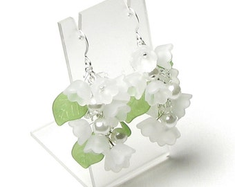 Lily of the Valley Flower Swarovski Crystal White Pearl Earrings, White Lily, Spring Flower Earrings, Acrylic Flower, Wedding Bridal Jewelry