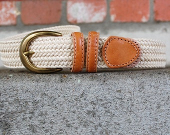 Vintage Belt Womens Size Small Liz Claiborne Leather Woven Beige Cream Tan High Wasted Boho Hippie Preppy Spring Braided Native