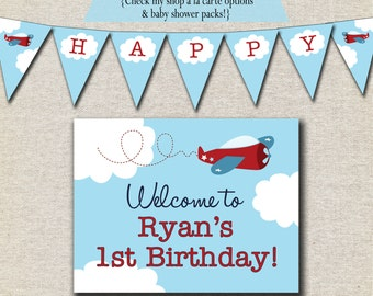 Airplane Birthday Party Pack - printable invitation, thank you card, banner, sign, party circles, favor tags, food drink labels
