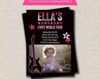 Rock Star Invitation - pink purple   Rock Star Invite   Guitar Invitation   Rock Star Party Printables
